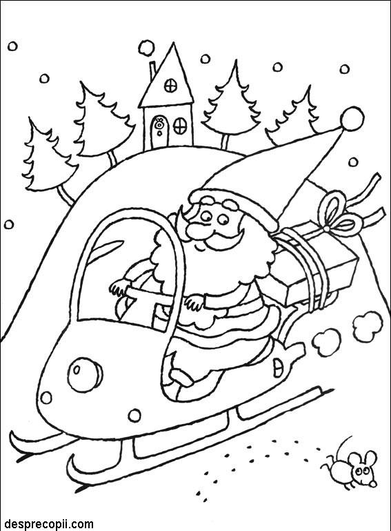 Mos Craciun in snowmobil - plansa colorat