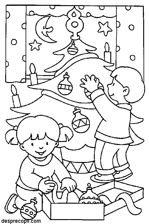 Planse De Colorat Copii Impodobind Bradul Desprecopiicom
