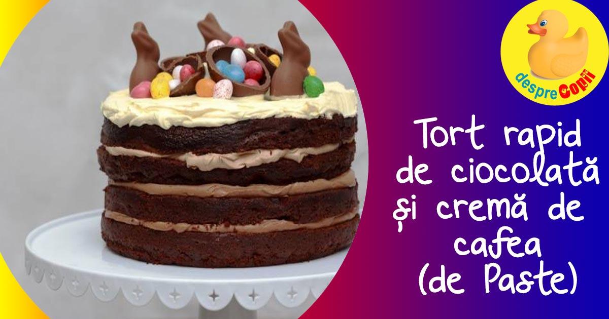 Tort rapid de ciocolata si crema de  cafea (de Paste)