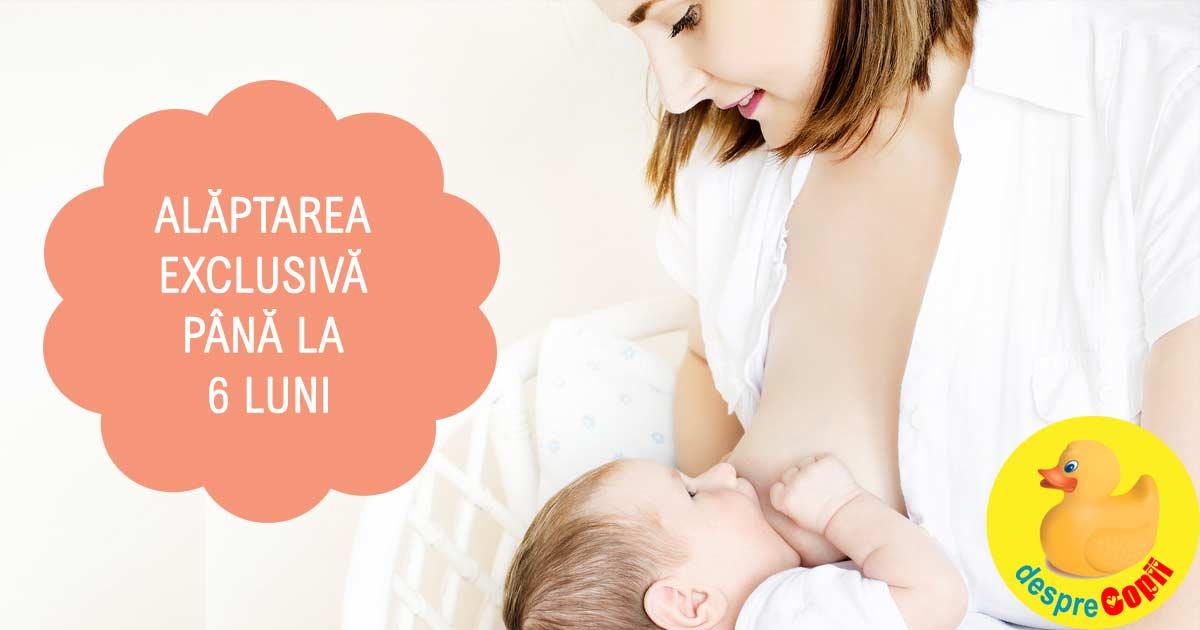 Alaptarea exclusiva pana la 6 luni: darul mamei pentru sanatatea bebelusului