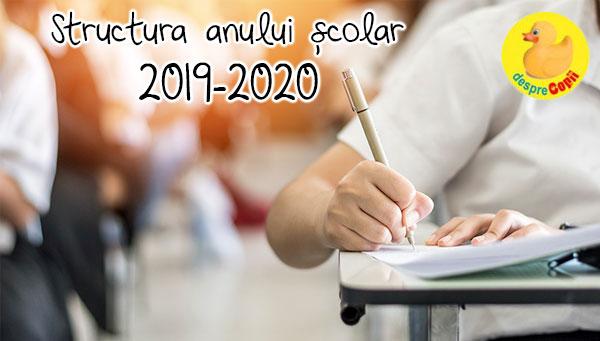 Structura anului scolar 2019-2020
