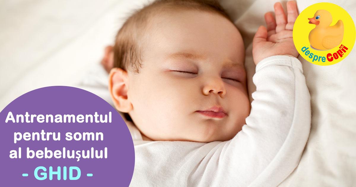 Antrenamentul pentru somn al bebelusului - Ghid. Cum si cand se incepe, plus cele mai bune sfaturi de la un specialist in somnul bebelusilor.