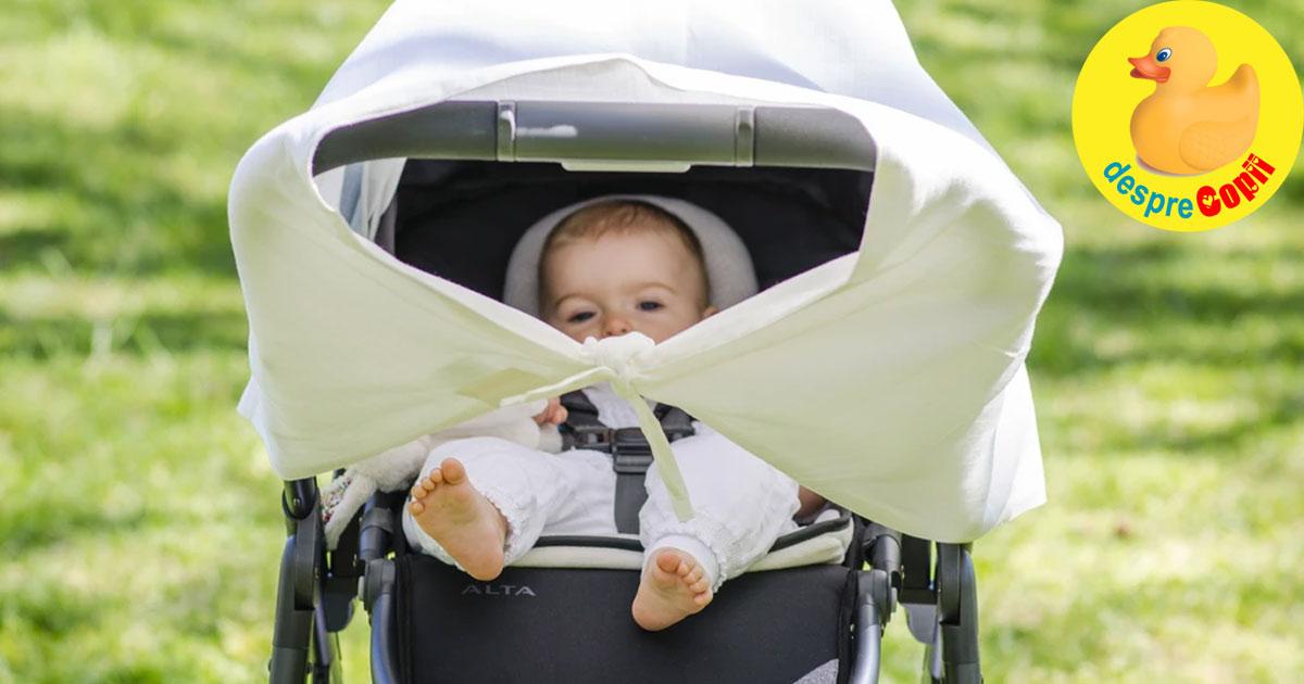 Iesim cu bebelusul afara in caldura verii? Acoperim caruciorul? Cu ce si cum ne asiguram ca bebe nu se supraincalzeste