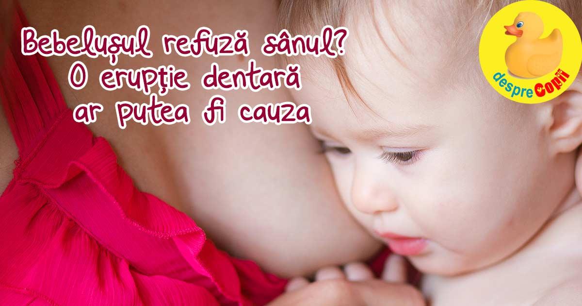 Bebelusul refuza sanul? Eruptia dentara ar putea fi cauza