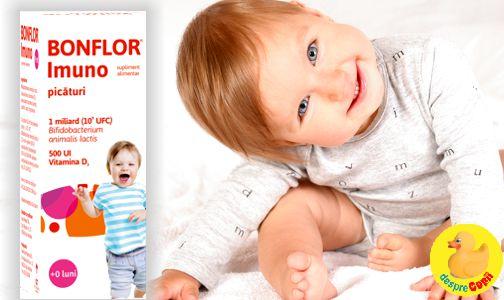 Vitamina D si bacterii lactice benefice florei intestinale sanatoase a bebelusului: Bonflor Imuno, combinatia ideala