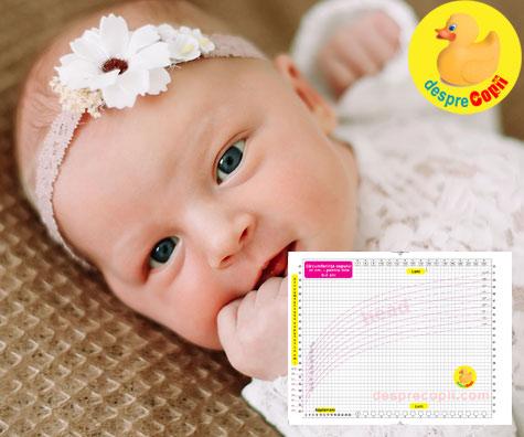 Circumferinta capului bebelusului 0-2 ani - graficul cresterii capului bebelusului fetita