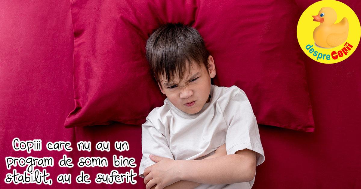 Mersul la somn la ore neregulate are un impact imens asupra comportamentului si dezvoltarii copilului
