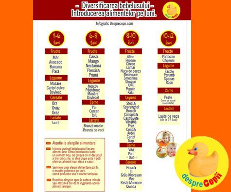 Diversificarea bebelusului: introducerea alimentelor pe luni (infografic)