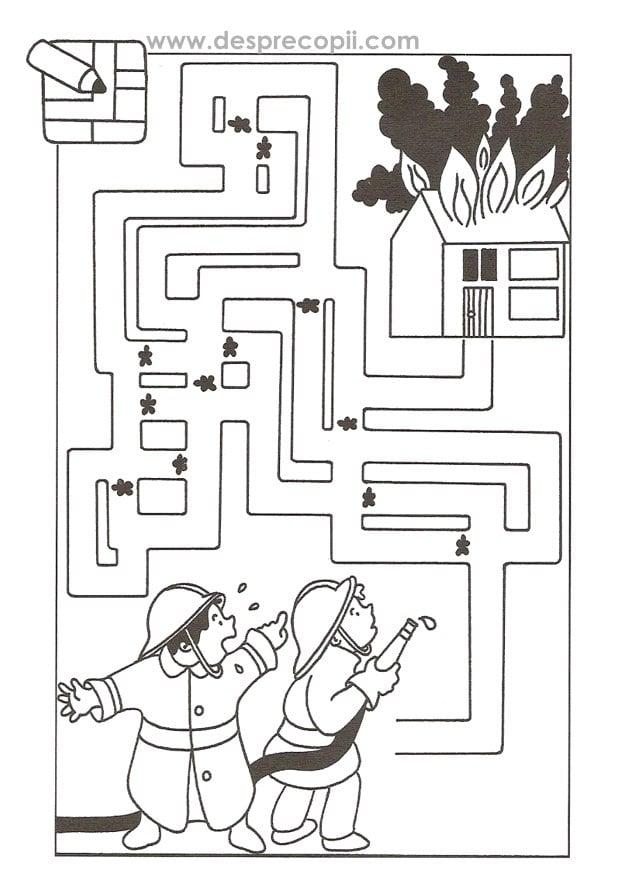 Pompierii si labirintul - plansa colorat
