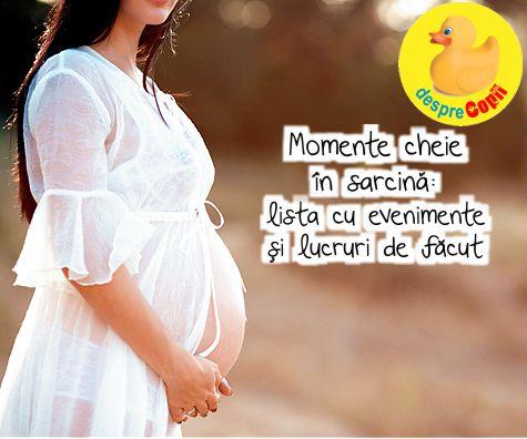 Momente cheie in sarcina: lista cu evenimente si lucruri de facut