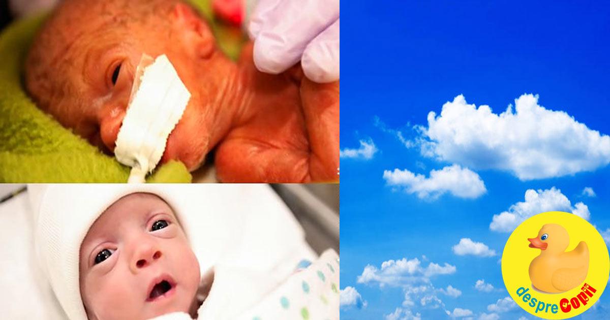 Primele zile de viata ale unui bebelus prematur nascut la 26 de saptamani