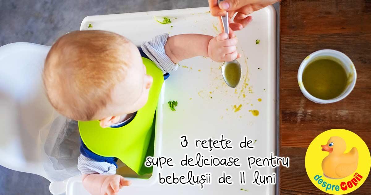 3 retete de supe pentru bebelusii de 11 luni - a sasea luna de diversificare