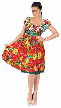 Rochie rosie multicolora