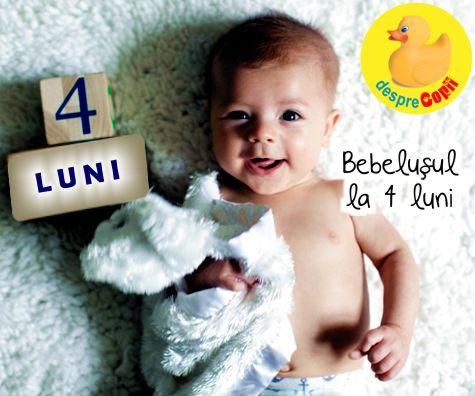 Bebelusul la 4 luni: interesat de timp de calitate cu mami si tati si fascinat de manute