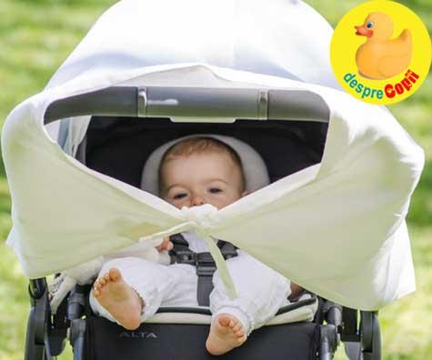 Iesim cu bebelusul afara in caldura verii? Acoperim caruciorul? Cu ce si cum ne asiguram ca bebe nu se supraincalzesteos să vă acoperiți pramul?