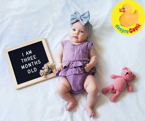 Cat creste in greutate si lungime bebelusul de 3 luni? Iata care sunt valorile medii si ce trebuie urmarit.