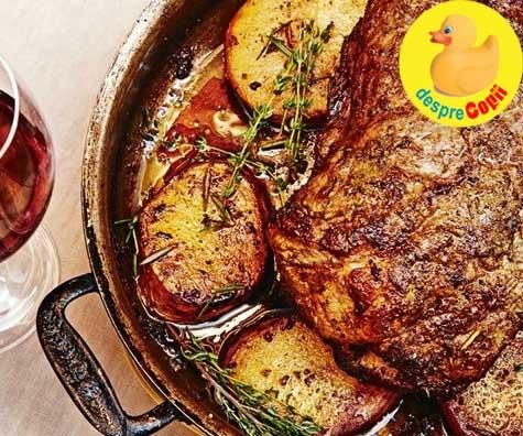 Ceafa de porc la cuptor cu salvie si rozmarin