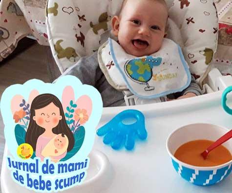Bebe sta acum in scaunul de masa si putem lua masa cu totii - jurnal de mami de bebe scump