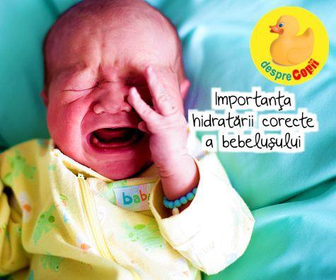 Importanta hidratarii corecte a bebelusului. Riscuri si semne de deshidratare.