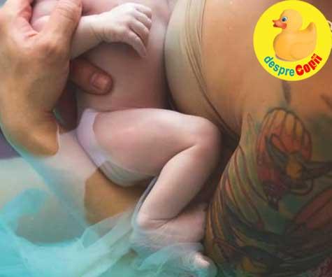 Nasterea in apa a bebelusului cu caita - in sacul amniotic