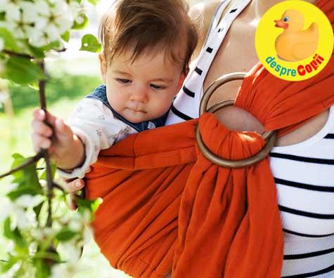 10 motive pentru care bebelusii purtati in sling sau wrap sunt mai fericiti
