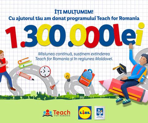 Cu sprijinul clienților sai, Lidl Romania investeste 1.300.000 de lei in programul Teach for Romania